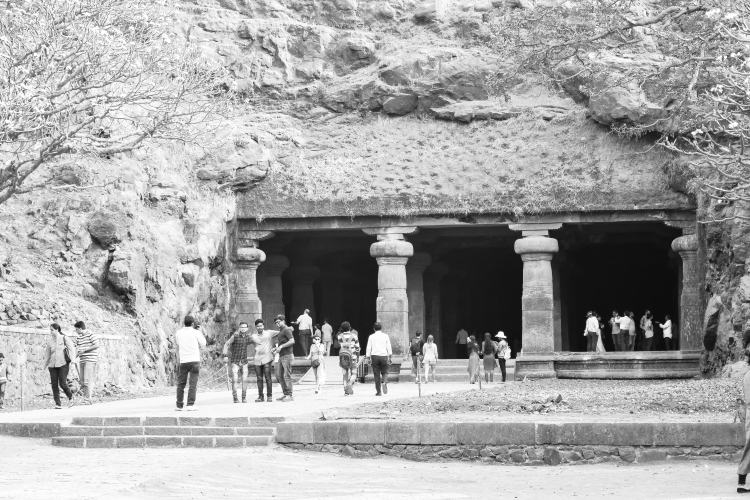 At the entrance of the Elephanta caves
